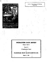 Production data report. Project 1108-13 report 33 a supplementary report to Fourdrinier Kraft Board Institute, Inc.