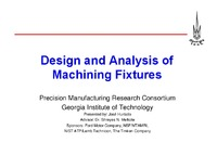 Design and Analysis of Machining Fixtures