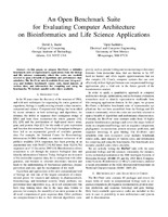 An Open Benchmark Suite for Evaluating Computer Architecture on Bioinformatics and Life Science Applications