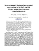 The Development of Internet-Based Experiment System and the Utilization of Practice Teaching Resources for Continuing Engineering Education