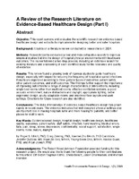 A Review of the Research Literature on Evidence-Based Healthcare Design