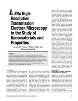 In Situ High-Resolution Transmission Electron Microscopy in the Study of Nanomaterials