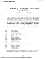 An Approach for Calculating the Cost of Launch Vehicle Reliability