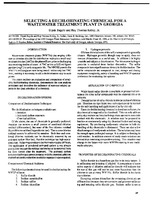 Selecting a Dechlorinating Chemical for a Wastewater Treatment Plant in Georgia