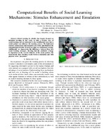 Computational Benefits of Social Learning Mechanisms: Stimulus Enhancement and Emulation