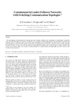 Containment in Leader-Follower Networks with Switching Communication Topologies