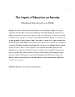 The Impact of Education on Poverty