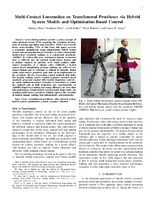 Multi-Contact Locomotion on Transfemoral Prostheses via Hybrid System Models and Optimization-Based Control