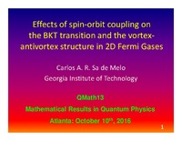 Effects of Spin-Orbit Coupling on the Berezinskii-Kosterlitz-Thouless Transition